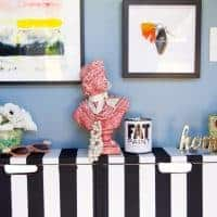 Black and White Stripe Ikea Shoe Cabinet