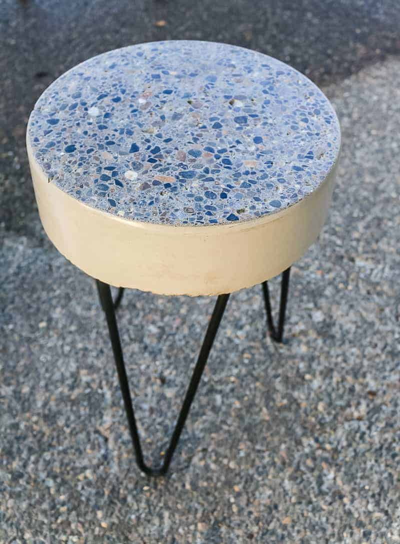Finished DIY concrete side table