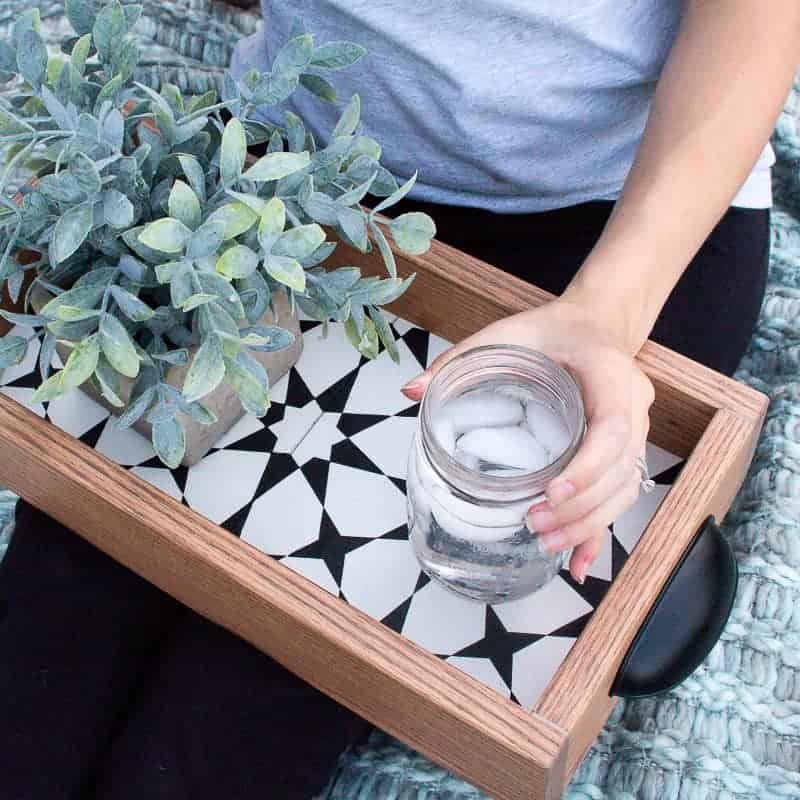 Woman holding the ices water on the diy serving tray beside the succulent
