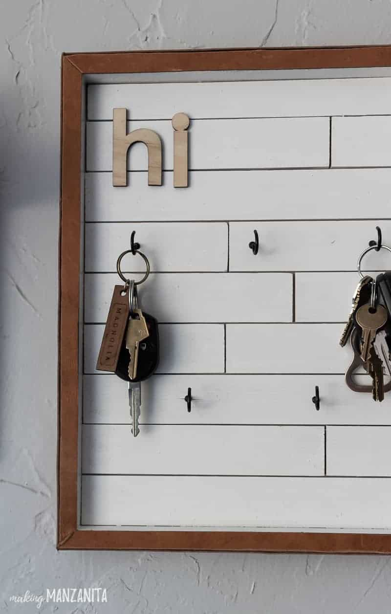 Finished DIY key holder with keys on the hooks