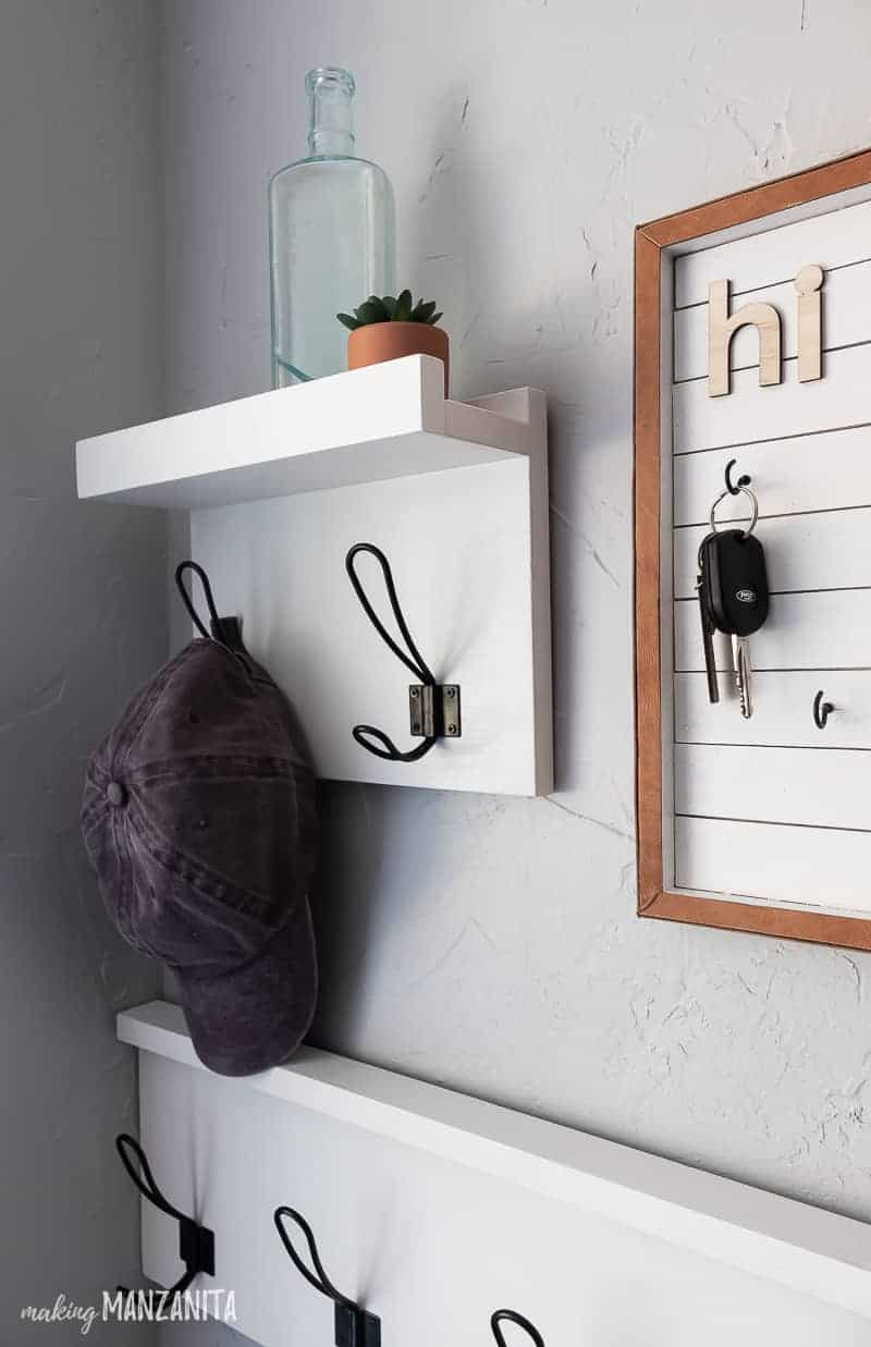 Closer look at the at hanging shelf with hooks and half of the DIY key holder