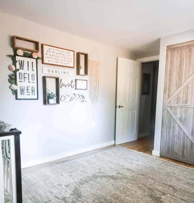 Barn door closet doors and the nursery gallery wall - baby girl room ideas