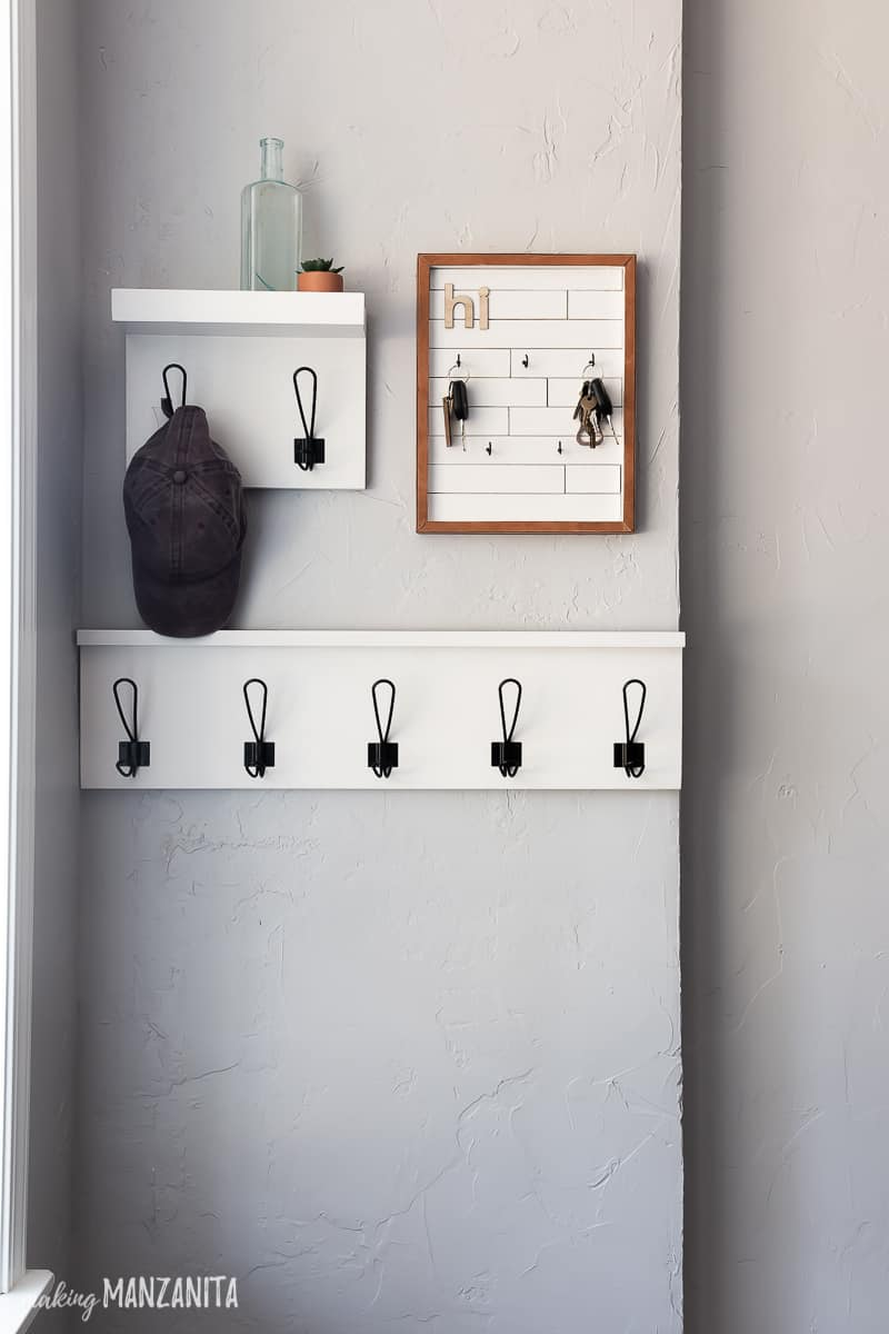 Entryway wall hanging shelves and DIY keyholder