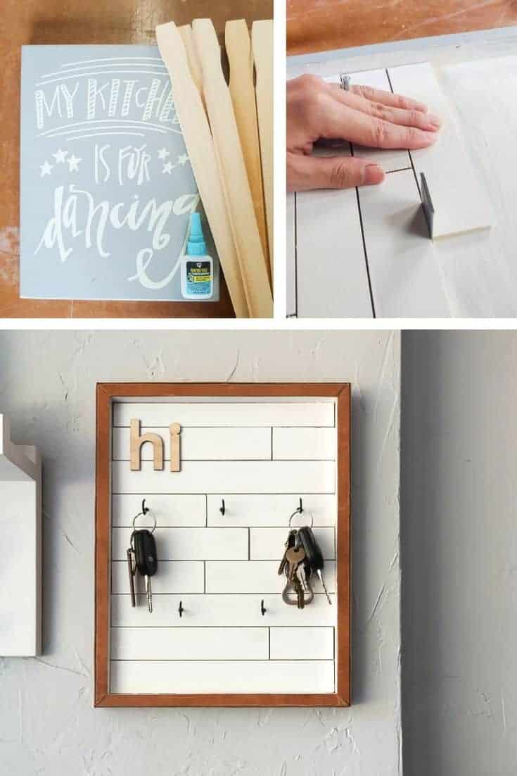 First photo shows glue mini shiplap and leather craps, second photo shows attaching the mini shiplap inside the frame and last photo shows finished DIY key holder
