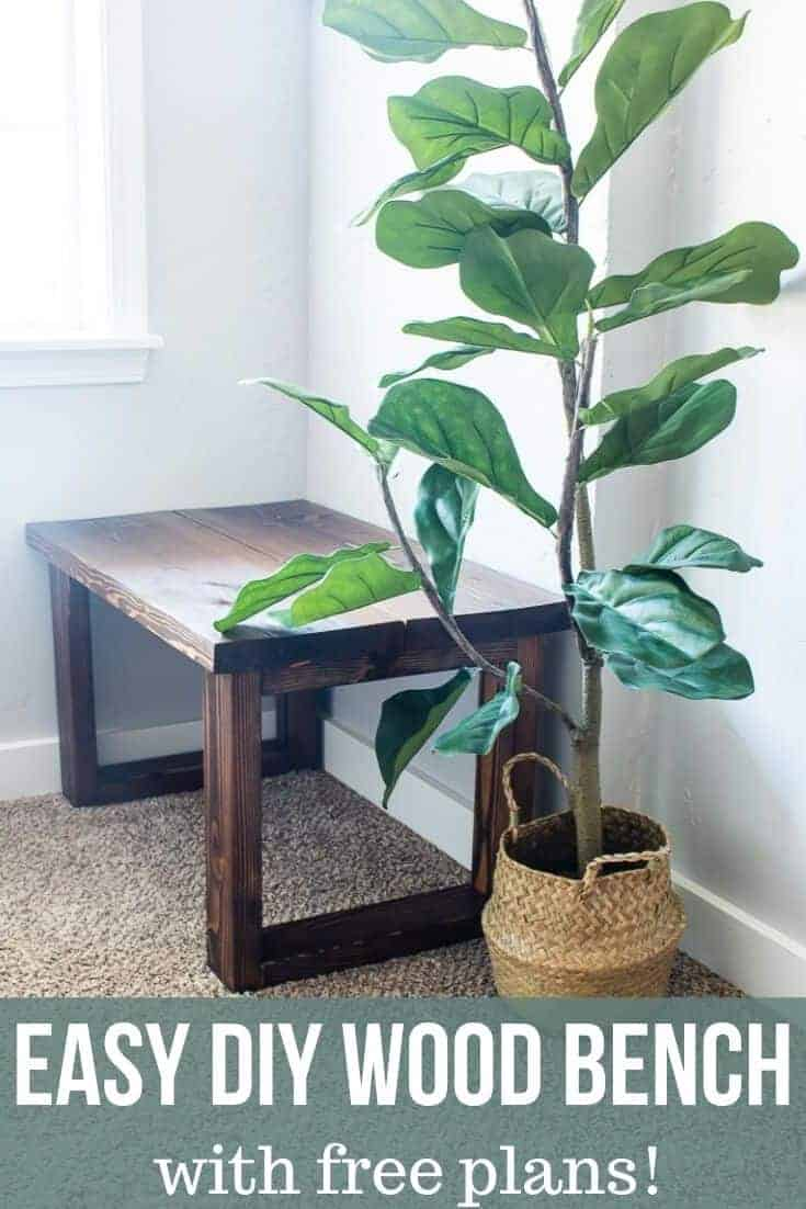 Small entryway bench and an indoor plant with text overlay that says Easy DIY Wood Bench with Free Plans!