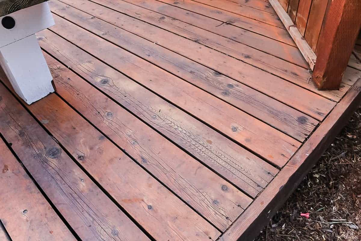 Refinished deck floor