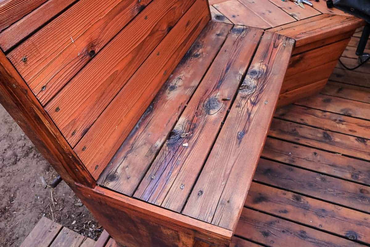 Refinished deck bench