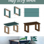 Collage of sketched woodworking plans for DIY bench with text overlay that says Free Woodworking Plans Easy DIY Bench