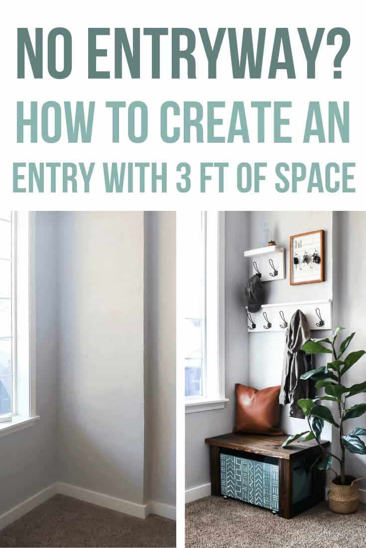 Before image of plain corner of the entryway and after image of the entryway design with coat racks, key holder, leather pillow, wooden bench, wooden shoe storage and indoor plant with text overlay that says No Entryway? How to create an entryway with 3 Feet of Space