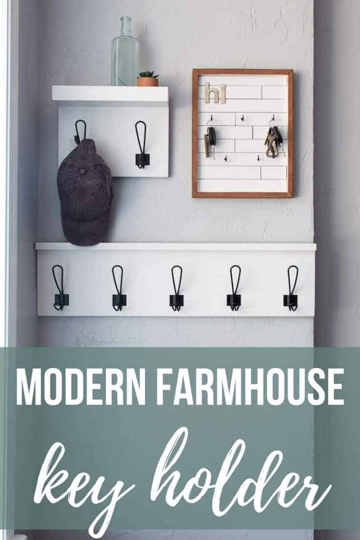 Entryway with DIY keyholder and hanging shelves with hooks with text overlay that says Modern Farmhouse Key Holder