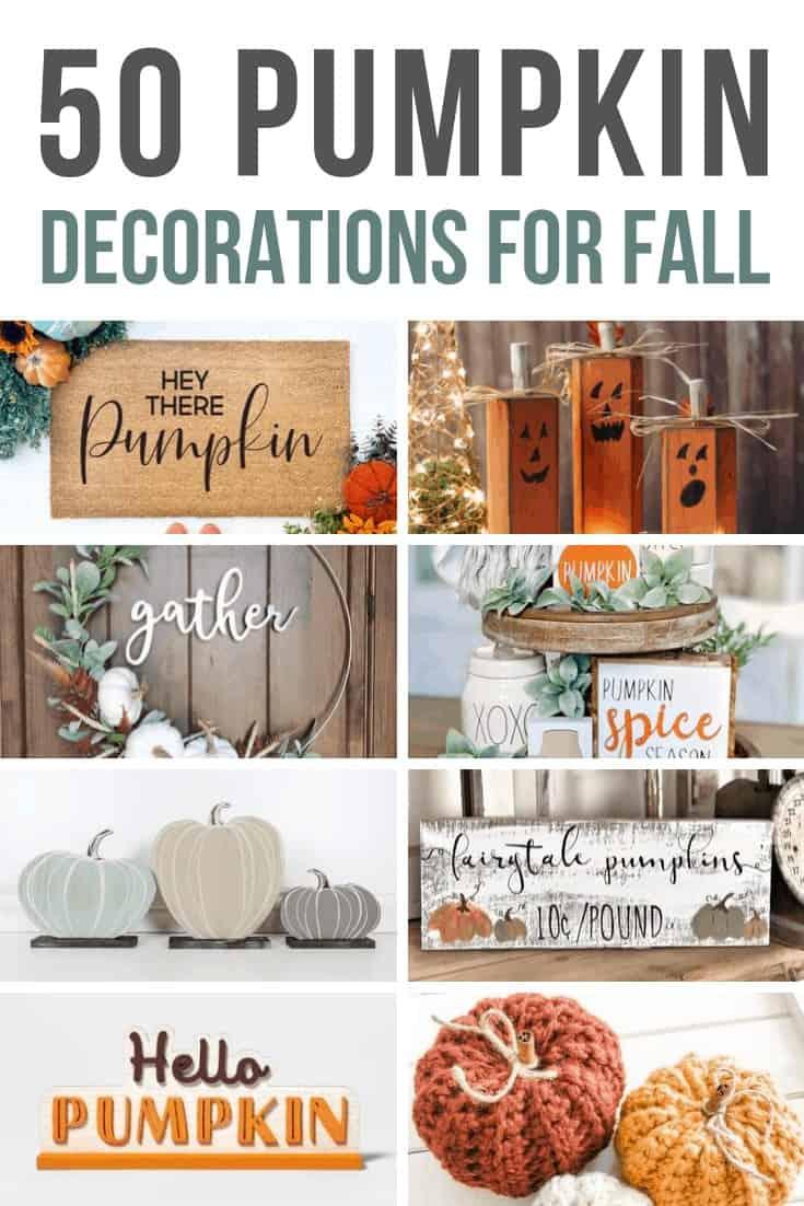 Pumpkin door mat, candle holder, wreath, spices holder, mini pumpkins, pumpkin wood sign, Hello Pumpkin decor, and knitted pumpkin decor with text overlay that says 11 Pumpkin Decorations for Fall.