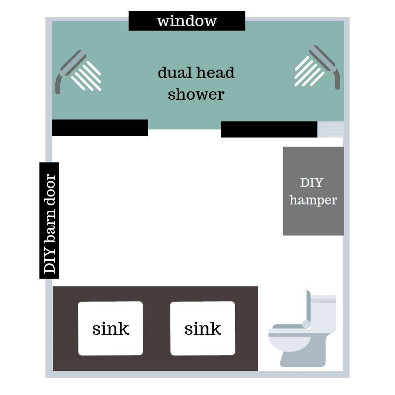 Another modern bathroom design floor plan showing the after renovation