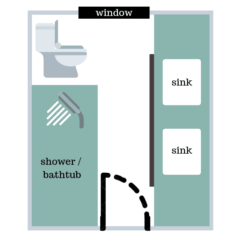 Floor plan of the modern bathroom renovation before renovating