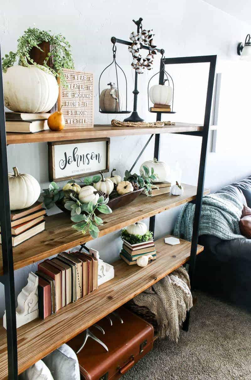 Living Room Shelf Ideas With Pumpkin Decorations For Fall