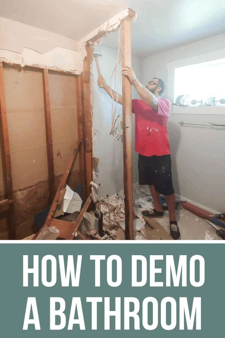 Removing the walls with text overlay that says How to Demo a Bathroom