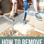 Removing tile floor using hammer photo with text overlay that says How to Remove Tile Flooring