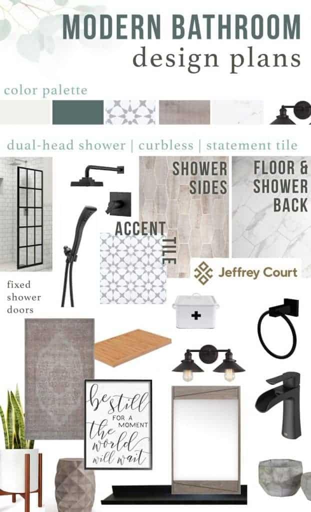 mood board for a modern bathroom