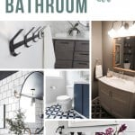 Collage of different modern bathroom with text overlay that says Modern Bathroom Ideas
