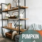 Side image of the Living Room Shelf with text overlay that says Pumpkin Decorations for Fall with Shelves