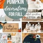 Collage of pumpkin figurine, knitted pumpkin, pumpkin printable, fall wooden sign, pumpkin doormat, pumpkin farmhouse decors, spice holder and