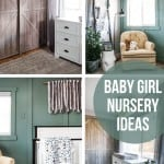Collage of 4 images showing baby girl nursery ideas with white nursery furniture, faux barn door for closet doors, tan rocker with black floor lap, boho wall hanging over crib and white dresser with text overlay that says baby girl nursery ideas