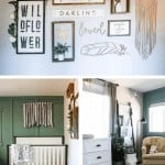 Collage of three images full of baby girl room decor ideas with gallery wall art, white crib and vintage style area rug