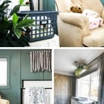Collage of three images showing book storage basket next to rocker in nursery, white crib with blanket against green accent wall and large white dresser under window the gray curtains
