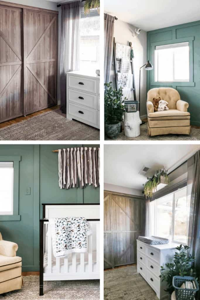 Mix of 4 images showing boho style nursery for baby girl with green accents and white nursery furniture
