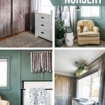 Collage of 4 boho nursery ideas showing barn door closet doors, tan rocker with blanket ladder, white crib against green accent wall and large window over white dresser with black cup pulls