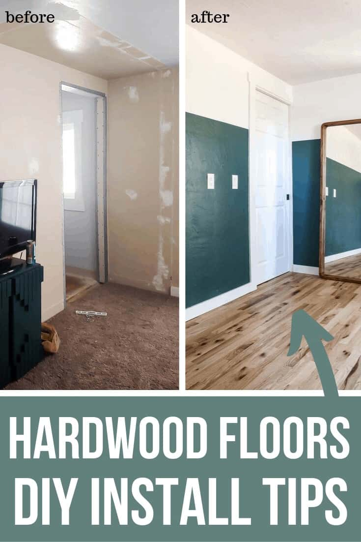 Before photo of the old master bedroom with old carpet on the floor and after photo of the master's bedroom with the install cheap hardwood flooring. with text overlay that says Hardwood Floors DIY Install Tips