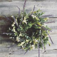Boxwood Wreath with Lavender & White Flowers