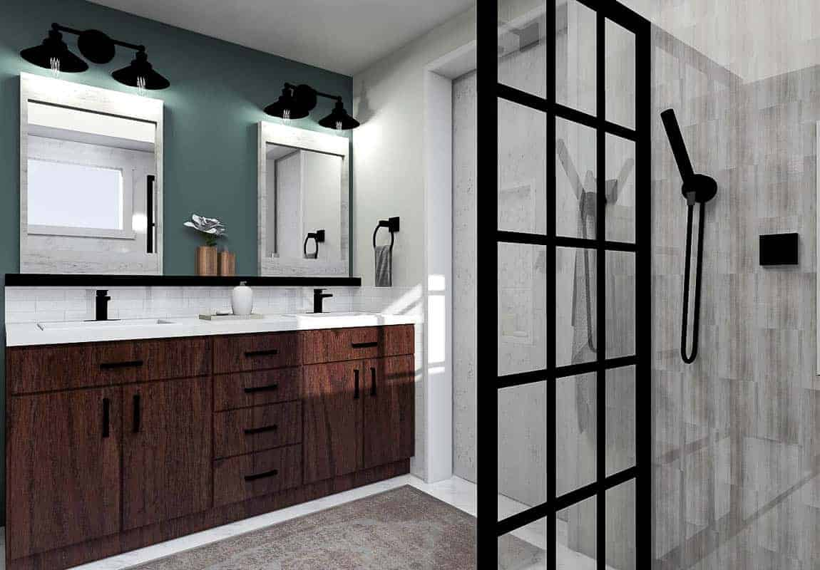 Final render of the modern bathroom design showing the vanity area