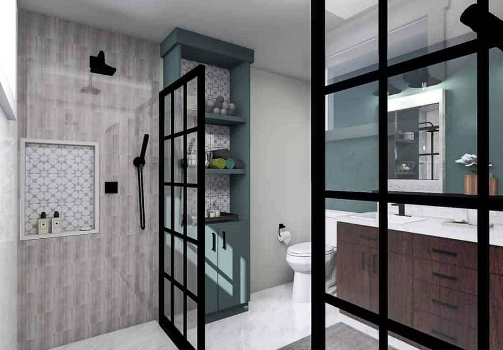 A digital rendering of a bathroom design