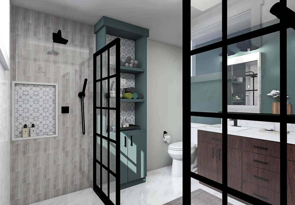 Final render of the modern bathroom showing the other side of the bathroom
