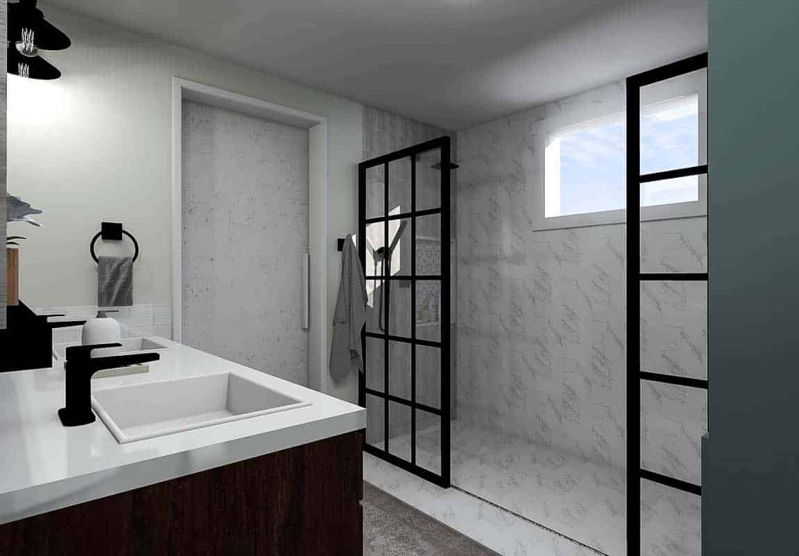 Final render of the modern bathroom design plan