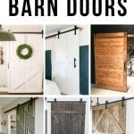 Collage of barn doors ideas with text overlay that says 17 DIY barn doors