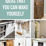 Collage of different DIY barn doors with text overlay that says 17 barn door ideas that you can make yourself