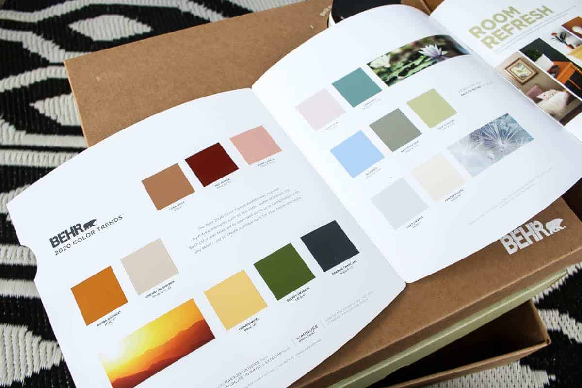 Color paint samples shown on the leaflet showing Behr's 2020 Color Trends