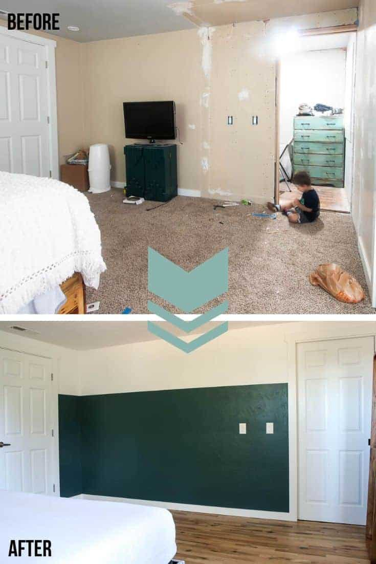 Collage of before picture of the old bedroom with one old paint and brown carpet and the after picture of the bedroom with two tone wall with green on bottom and white on top with new hardwood floors