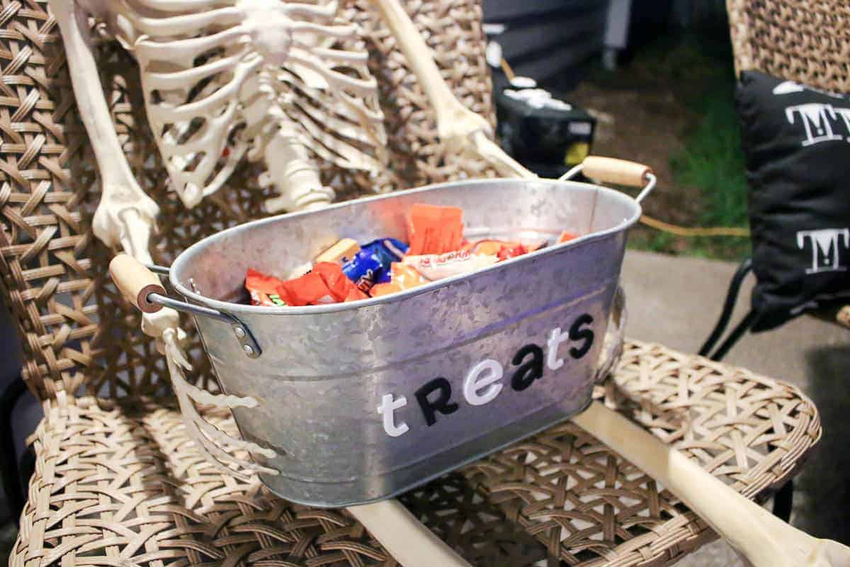 Metal tub with candies inside for treats