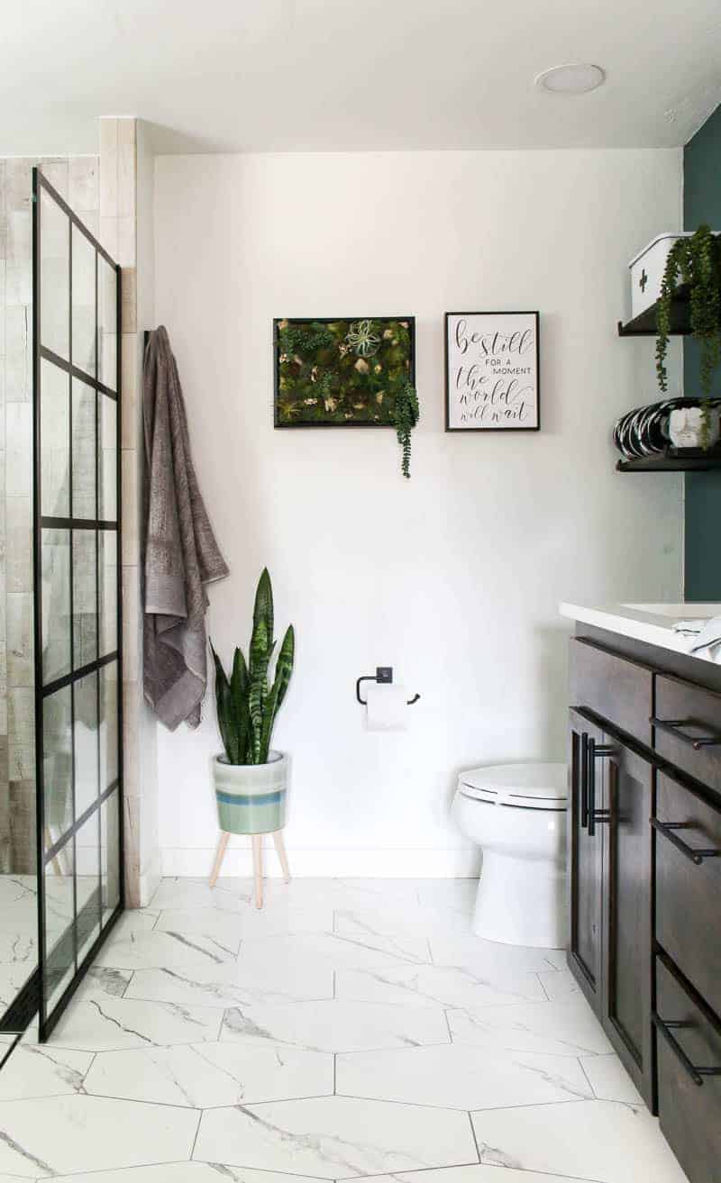 straight on view of bathroom renovation with white hexagon tile floor, shower door with black windowpane on the left, snake plant and hanging towel, succulent vertical garden in frame and toilet with dark wood vanity on the right