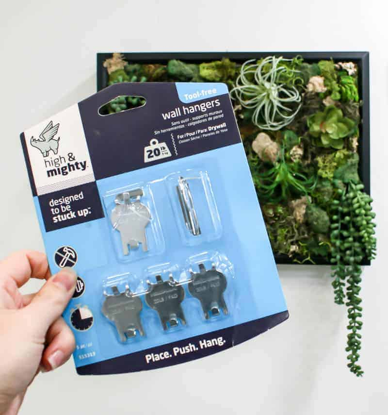 Holding a High & Mighty wall hangers pack and the finished DIY fake succulent wall decor at the back