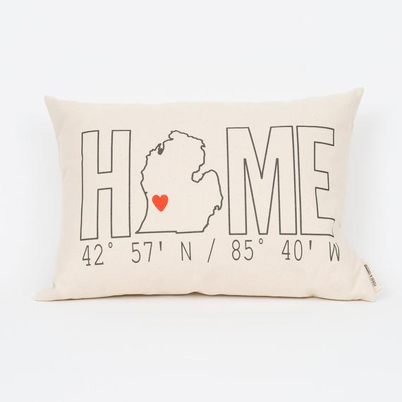 Custom Home Coordinates Pillow