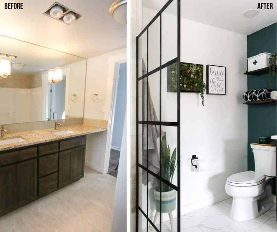 Before picture of the old vanity and after picture of the modern farmhouse bathroom