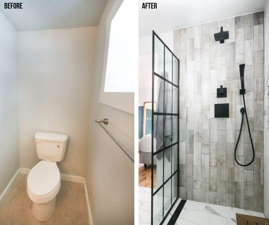 Before picture of the old toilet look and the after picture of the new modern bathroom shower area