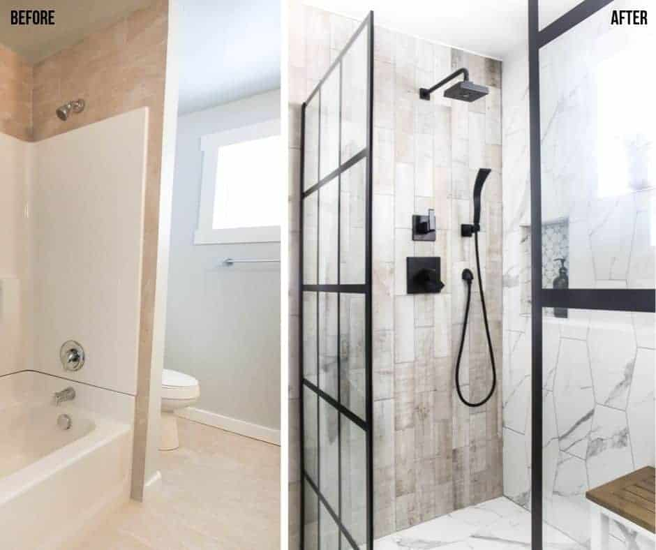 Before and after collage of the bathroom showing pre-made shower bath insert for the before picture and after picture with luxurious black and white shower design with modern finishes