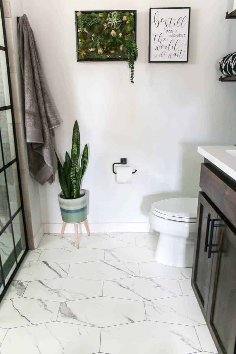Wall decor, toilet bowl, bath towels, indoor plant for the new modern bathroom reveal