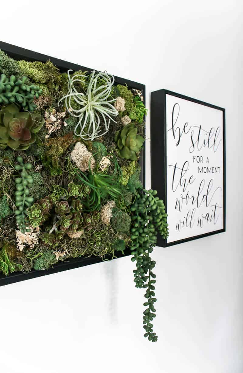 Fill view of the DIY fake succulent wall decor beside a printable wall decor