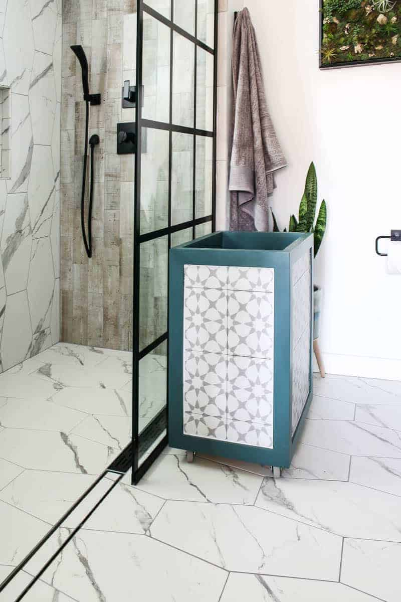 DIY wooden hamper on the modern farmhouse bathroom