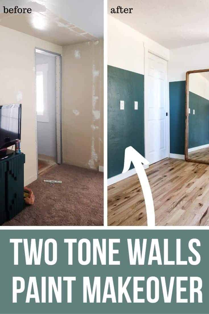 Before and After pictures of the bedroom with two tone walls Paint Makeover